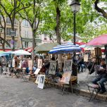 PARIS, FRANCE - May 28: Place du Tertre in Montmartre with street artists ready to paint tourists on May 28, 2015 in Paris, France